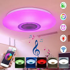 Light Speaker Rgbw App Voice Control Dimmable Bluetooth Speaker Led Ceiling Light Fixture Work With Google Alexa