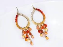 the sunrise earrings mexican fire opal chandelier earrings in gold filled