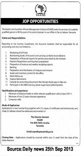 accounts assistant tayoa employment portal job description