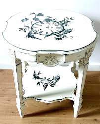small round accent table old white chalk paint with graphite image transfer coffee off dresser wit