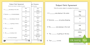 Subject And Verb Agreement Anchor Chart First Grade Subject Verb Agreement Poster
