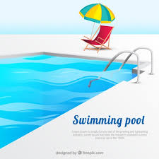 swimming pool logo design. Background Of Swimming Pool With Deck Chair And Beach Umbrella Free Vector Logo Design K