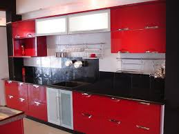 Modern Indian Red Kitchen Cabinets