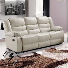 Living Room Furniture Belfast Belfast Ivory Cream Premium Bonded Leather Electric Recliner Sofa