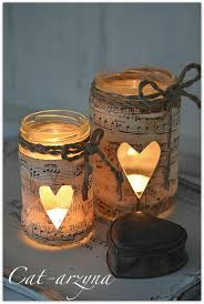 Perfect for couples having a musical or vintage themed wedding Music sheet  wrapped candle jars- Instead of a heart cut out, we could do daisies
