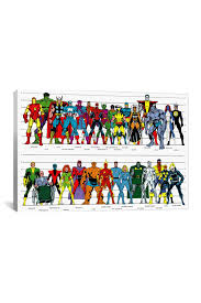 Comic Book Size Chart Marvel Comics Book Character Size Chart Canvas Print On