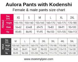 Aulora Pants With Kodenshi Size Chart Size Measurement