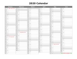 Calendar Template Monthly 2020 Free Download Printable Calendar 2020 Month In A Column