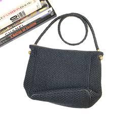 details about bottega veneta bag navy blue handbag woven fabric leather handle gold vtg