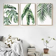 green botanical plants canvas set