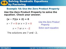 holt algebra 1 9 6 solving quadratic equations by factoring example 1a use the