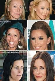 celebs with and without make up
