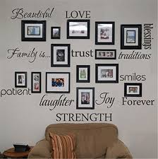 family blessing love patient joy smile quotes black photo frame wall sticker living room bedroom home decor mural decal art in wall stickers from home  on family picture frame wall art with family blessing love patient joy smile quotes black photo frame wall