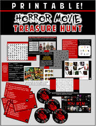 horror party theme ideas and scary games horror party ideas games printable horror movie treasure hunt