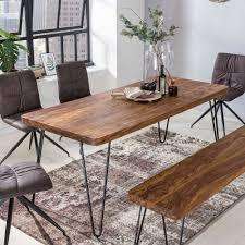 Wohnling Esstisch Bagli Massivholz Sheesham 160 Cm Esszimmer Tisch Holztisch Metallbeine Küchentisch Landhaus Dunkel Braun