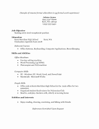 Sample Resume For A College Student With No Experience Resume Format For High School Students With No Experience Unique 16