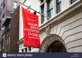 New York School Of Interior Design Red And White Flag Displayed At The Entrance To The New York