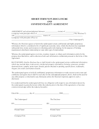 Simple Nda Template Sample Non Disclosure Agreement Confidentiality Agreement