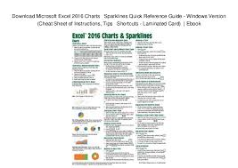 Charting Cheat Sheet Download Microsoft Excel 2016 Charts Sparklines Quick