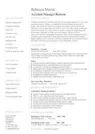 Assistant Manager Resume Sample Resume Samples For Assistant Manager