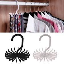 details about 360 rotation neck tie rack belt scarf hanger holder closet organizer 20 hooks