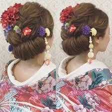 結婚式の前撮り 和装ロケーション撮影のお客様 創作ヘアで 和っぽいヘア