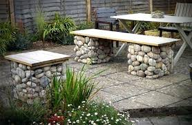 unique garden furniture. Unique Garden Benches Stones And Metal Wire Bench Design With A Wooden Seat Outdoor Furniture
