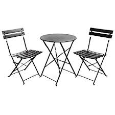 outdoor table and chairs. Finnhomy Slatted 3 Piece Outdoor Patio Furniture Sets Bistro Steel Folding Table And Chair Set Chairs R