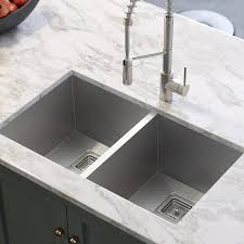 Kraus Pax 315 In X 185 In Stainless Steel Double Basin Undermount