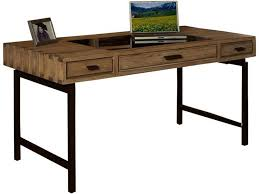 Furniture: Cheap Solid Wood Desk For Home Office With Metal Legs And 3  Drawers -