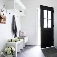 entryway small farmhouse porcelain floor and gray floor entryway idea in new york with white