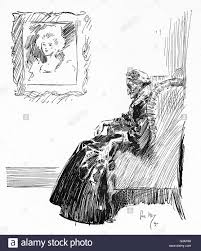 Elderly woman seated in a comfy chair beneath a portrait depicting