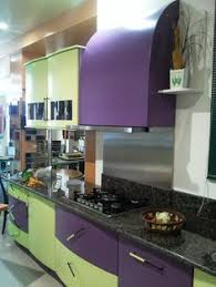 green and purple kitchen