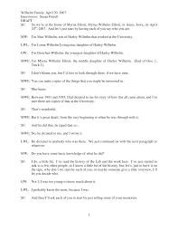 Wilhelm Family, April 20, 2007 Interviewer: Susan Futrell DRAFT 1 SF: So  we're at the home of Myrna Elliott, Myrna Wilhelm El