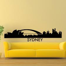 wall decal vinyl sticker sydney skyline city silhouette decor in