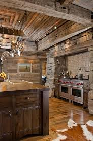 beautiful rustic kitchens. Rustic Abode-Cabin : Remarkable Wooden Striped Ceiling And Wall With Mural Installed In Kitchen Cabinet Hinges On Wood Glossy Floor Beautiful Kitchens