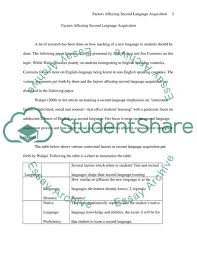 Second Language Acquisition Book Report Review Example
