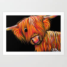highland cow print scottish ray of sunshine by shirley macarthur art print