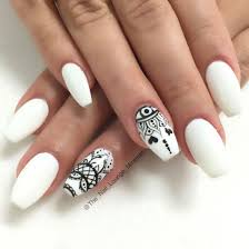 Cool Nail Designs With Black And White Black White Matte Nail Art Design White Acrylic Nails