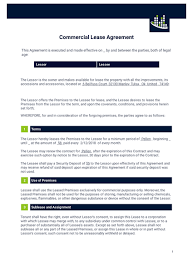 free mercial lease agreement