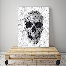 doodle skull canvas print black and