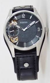 fossil twist watch mens black dial leather cuff wristwatch me1084 fossil twist multifunction mens watch this sporty mans watch features a black dial on black leather cuff band the twist watch is a fossil designed feature