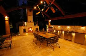 outdoor kitchen lighting. Outdoor Patio Lighting Designs In Kitchen And Stainless Cooktop Also Single Sink Facing Large