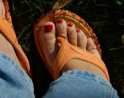 my red painted toes