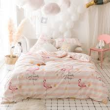 100 cotton beautiful flamingo duvet cover set twin queen sweet pink bedding sets solid color bed sheet bedspread pillowcases