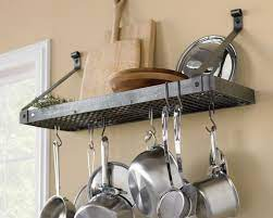 a wall mount pot rack for storage