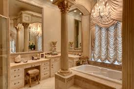 Traditional beige tile drop-in bathtub idea in Other with raised-panel  cabinets and