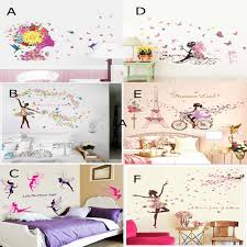 flower girls wall art stickers diy girls wall decals elf wallpaper for living room and bedroom home decoration r flower girls wall stickers flower wall