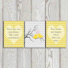 You Are My Sunshine Nursery Quote Yellow Chevron Print Gray Chev