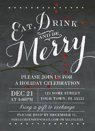 holiday party invitation template chalkboard holiday party invitation eat drink and be merry